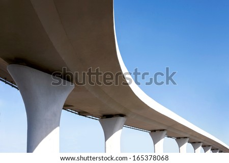 Exit from transport interchange on the sky background - stock photo