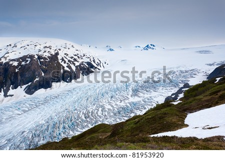 Exit glacier from Harding Icefield Trail - stock photo