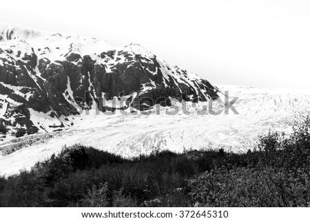 Exit Glacier in Kenai Mountains, Alaska - stock photo