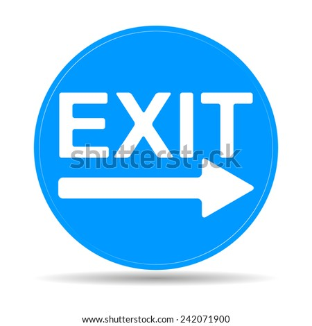 Exit icon -  illustration with shadow on light background.