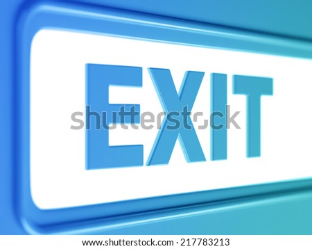 Exit internet blue icon. Exit button from blue chrome