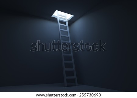 Exit ladder from the dark room. Exit way concept - stock photo