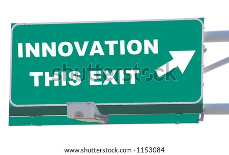 Exit sign concepts innovation this exit isolated - stock photo