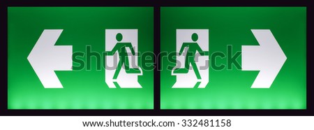 Exit sign emergency - stock photo
