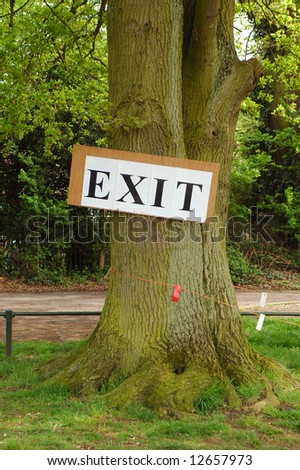 exit sign nailed to a large oak tree
