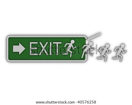 Exit sign with men and arrow - stock photo