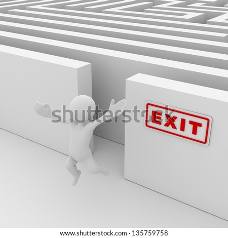 Exit the maze , computer generated image. 3d render. - stock photo
