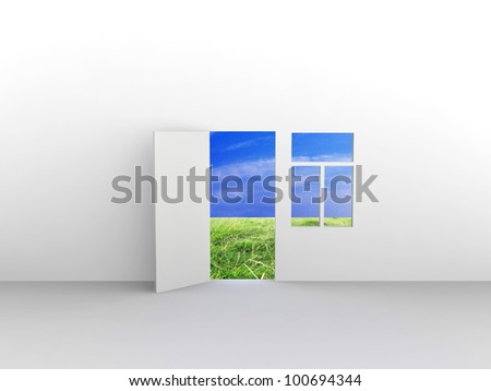 Exit to natural landscape with door and window. Concept - eco house. - stock photo
