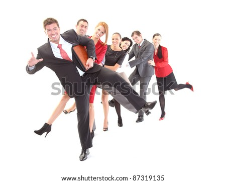 Exited group of business people - stock photo
