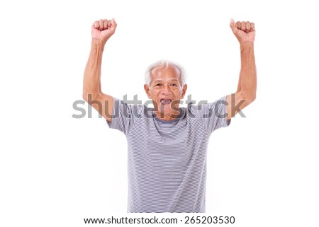 exited senior old man laughing, raising his hands up