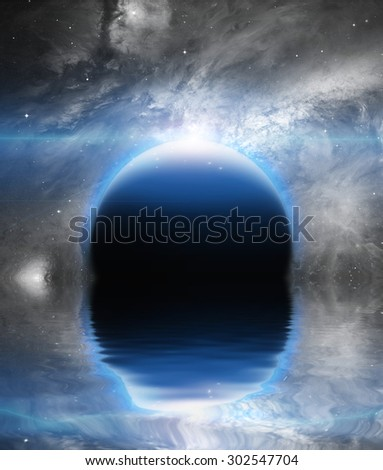 Exo-solar Planet Rise over quiet waters - stock photo