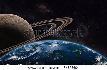 "exoplanet and exomoon  ""Elements of this image furnished by NASA "" - stock photo"