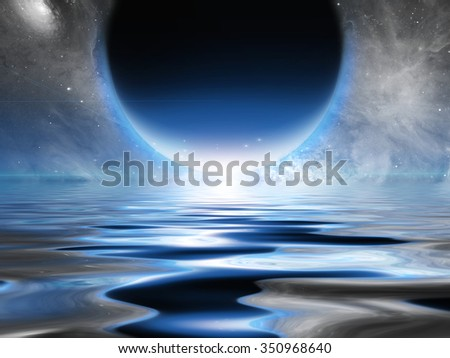 Exosolar Planet Rise over quiet waters - stock photo