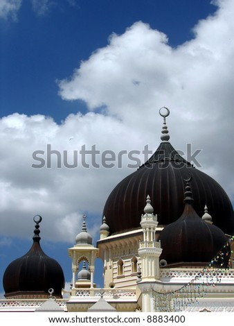 Exotic Asian Mosque's artistic architecture, closeup - stock photo