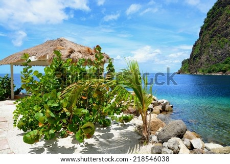 exotic beach at St. Lucia, between the two Pitons, St. Lucia, Caribbean - stock photo