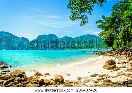 Exotic beach with blue sky, blue water and white sand in the background, South Asia - stock photo