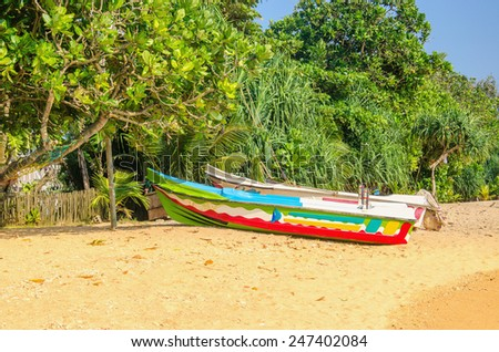 Exotic beach with colorful boat, tall palm trees and azure water, Sri Lanka, southern Asia - stock photo