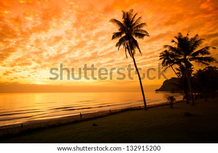 Exotic, beautiful and secluded beach with palm trees in the foreground and the sea. Thailand. - stock photo
