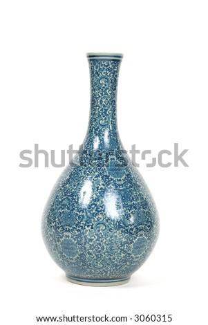 Exotic blue textured vase - stock photo