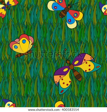 Exotic butterfly abstract seamless patterns, raster graphics. - stock photo