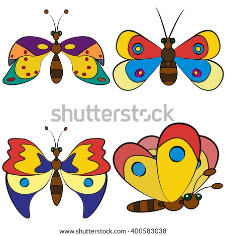 Exotic butterfly abstract set, raster graphics. - stock photo