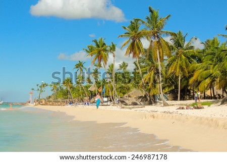 Exotic caribbean beach with tall palm trees - stock photo