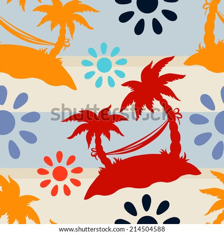 Exotic caribbean seamless pattern with silhouettes tropical coconut palm trees, sun, hammock. Endless print repeating texture. Striped background. Wallpaper - raster version  - stock photo