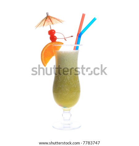 exotic cocktail with cherries and umbrella