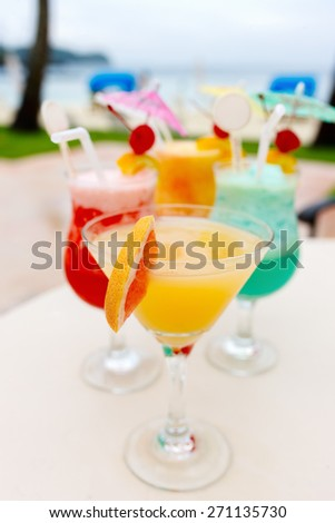 Exotic cocktails in a tropical setting