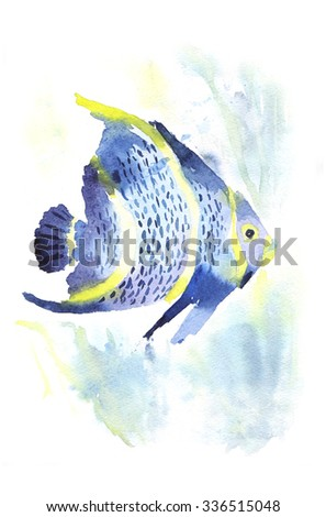 Exotic fish on white background. Watercolor tropical fish. Fish and sea weed. - stock photo