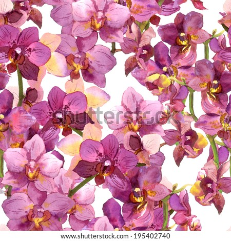 Exotic floral pattern - vibrant orchid flowers. Seamless background. Watercolour. - stock photo