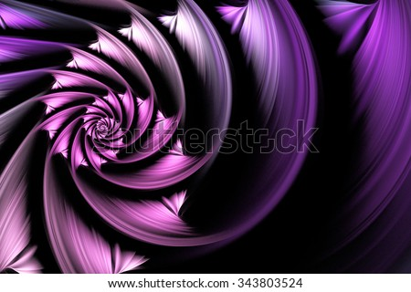 Exotic flower. Abstract shining multicolored spiral on black background. Computer-generated fractal in white, grey, rose and violet colors. - stock photo