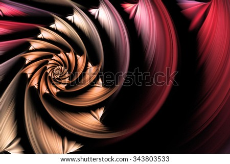 Exotic flower. Abstract shining multicolored spiral on black background. Computer-generated fractal in red, orange, grey, rose and beige colors.