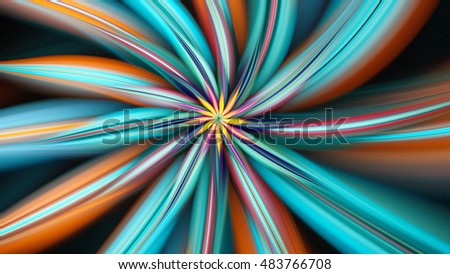 Exotic flower. Dance of flower petals. 3D surreal illustration. Sacred geometry. Mysterious psychedelic relaxation pattern.
