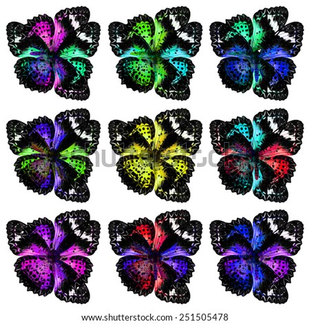 Exotic Flower Looked made of of Leopard Lacewing Butterflies in amazing shapes - stock photo