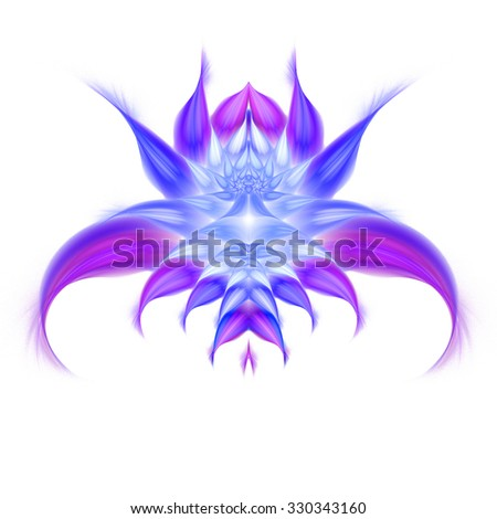 Exotic flower on white background. Symmetrical pattern. Computer-generated fractal in blue, rose, white and violet colors. - stock photo