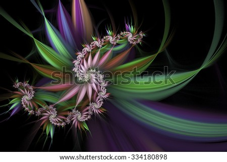 Exotic flowers. Abstract multicolored spiral on black background. Computer-generated fractal in green, beige, blue, rose and violet colors. - stock photo