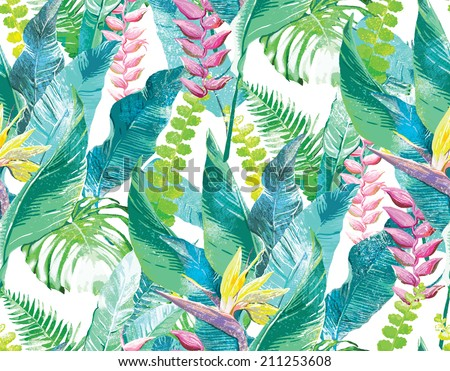exotic flowers and leaves - stock photo