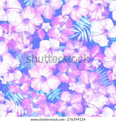 Exotic Flowers Hibiscus On A Dark Background Gentle Floral Pattern Of Tropical