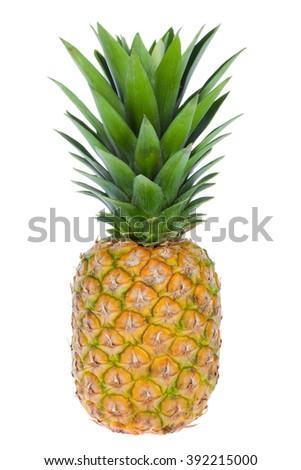 exotic fruit ananas isolated on white - stock photo