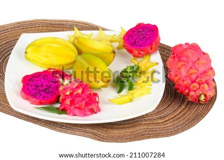 Exotic Fruit Dish with pitahaya and carambola  - stock photo