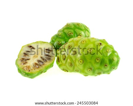Exotic Fruit - Noni on white - stock photo