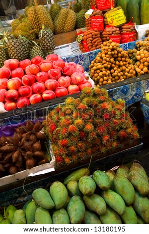 exotic fruits for sale - stock photo