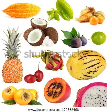 Exotic fruits isolated on white - stock photo