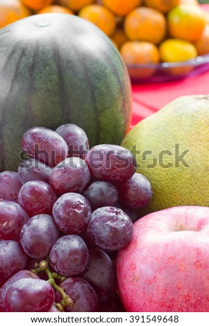 Exotic fruits on white background.