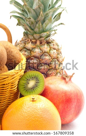 exotic fruits separately on white  background