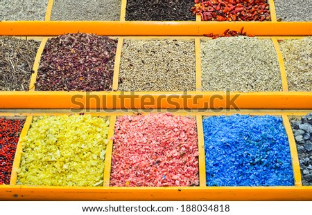 exotic herbs and spices on display  - stock photo