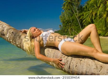 Exotic Hideaway Tanning Pleasure  - stock photo