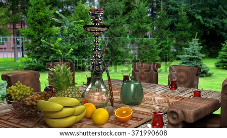 Exotic hookah. Different hookah over the bright backgrounds with smoke. Hookah with fruit flavor on wooden table in vintage style. fruits and tea on the table with a hookah.  - stock photo