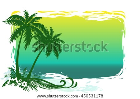 Exotic Landscape, Tropical Palms Trees, Flowers and Grass Silhouettes on Sea Background